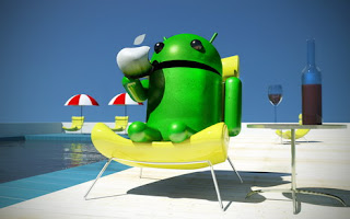 Android Pool Side With Apple