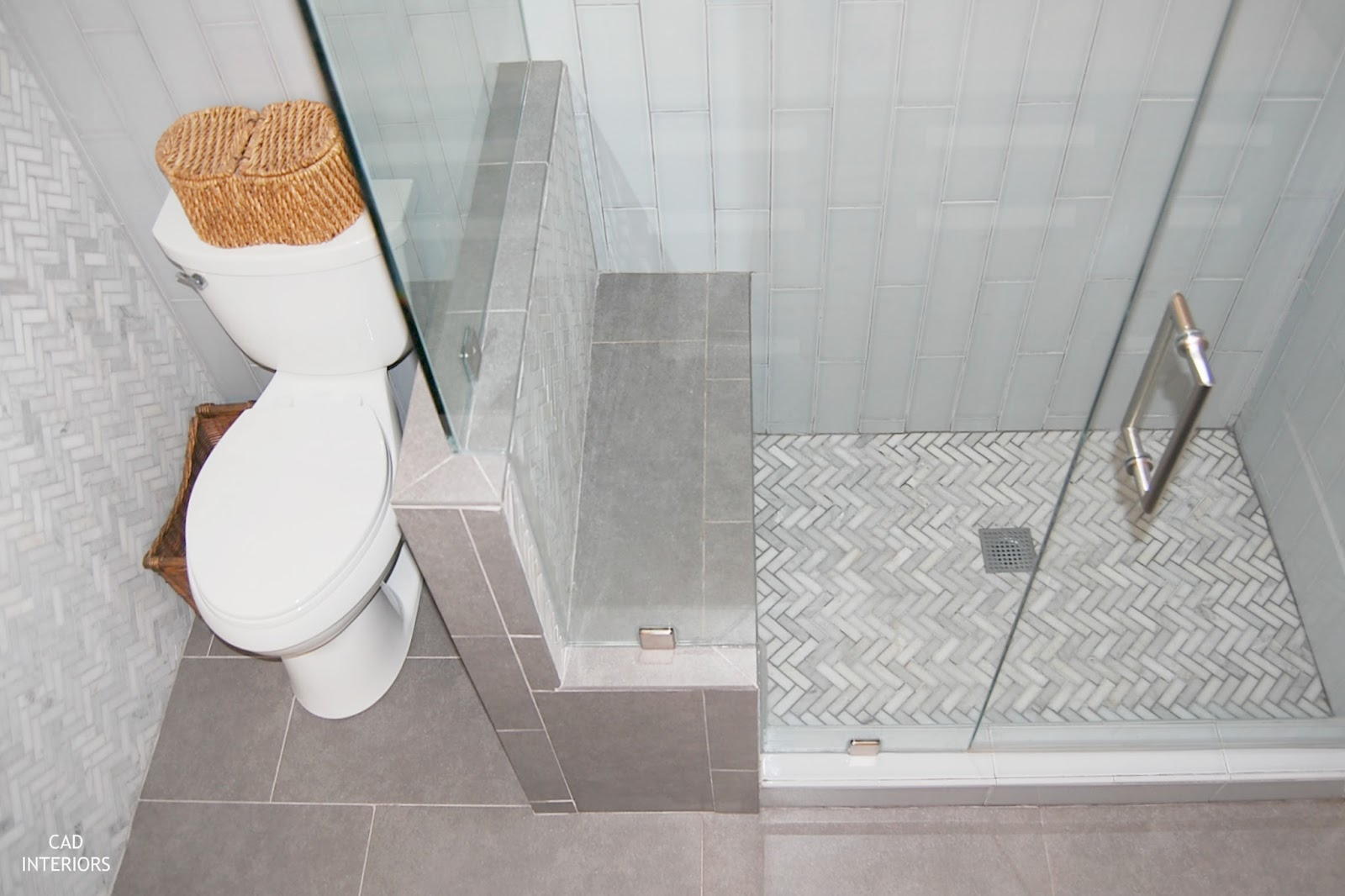 Luxury hidden camode pony wall shower bench shower frameless glass shower door vertical x subway tile herringbone