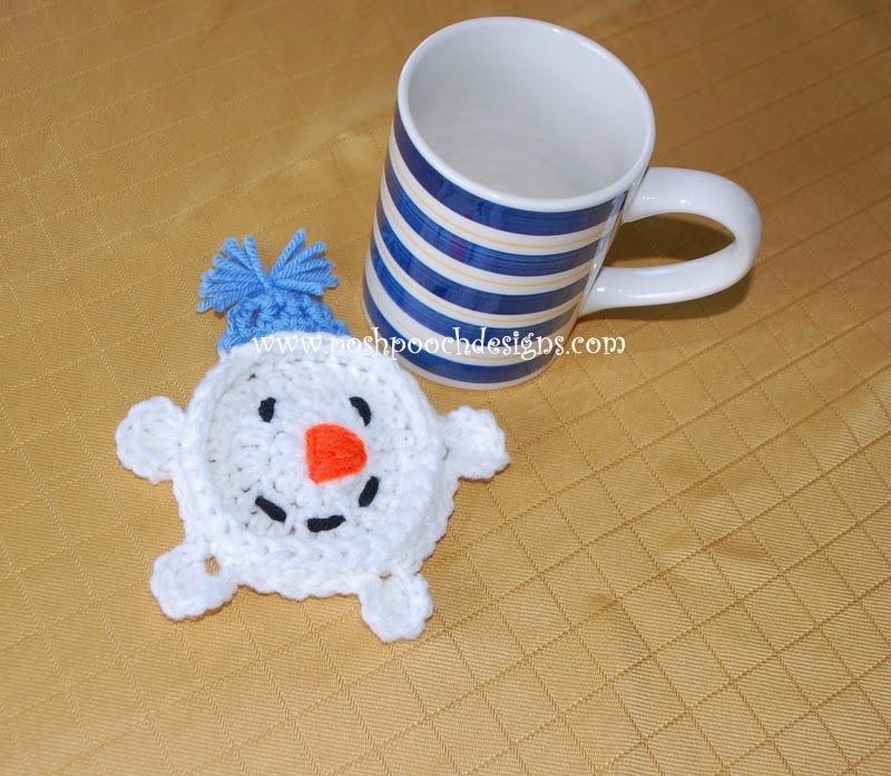 Free Crochet Mug Coaster Pattern : Posh Pooch Designs Dog Clothes: Snowman Mug Coaster ...