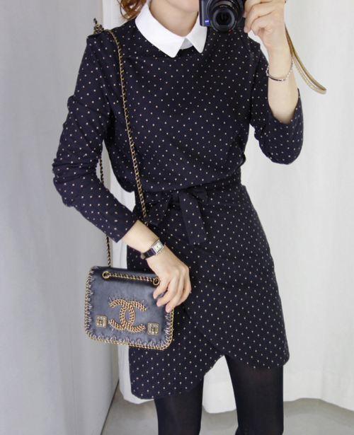 Belted Dot Print Dress