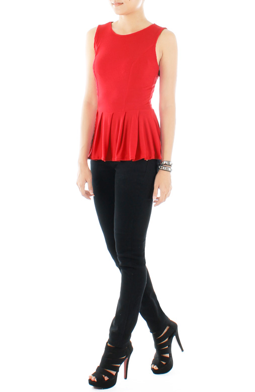 Basic Vanity Peplum Top - Red