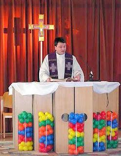 Balls at altar