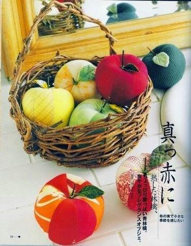 frutas feitas de tecido