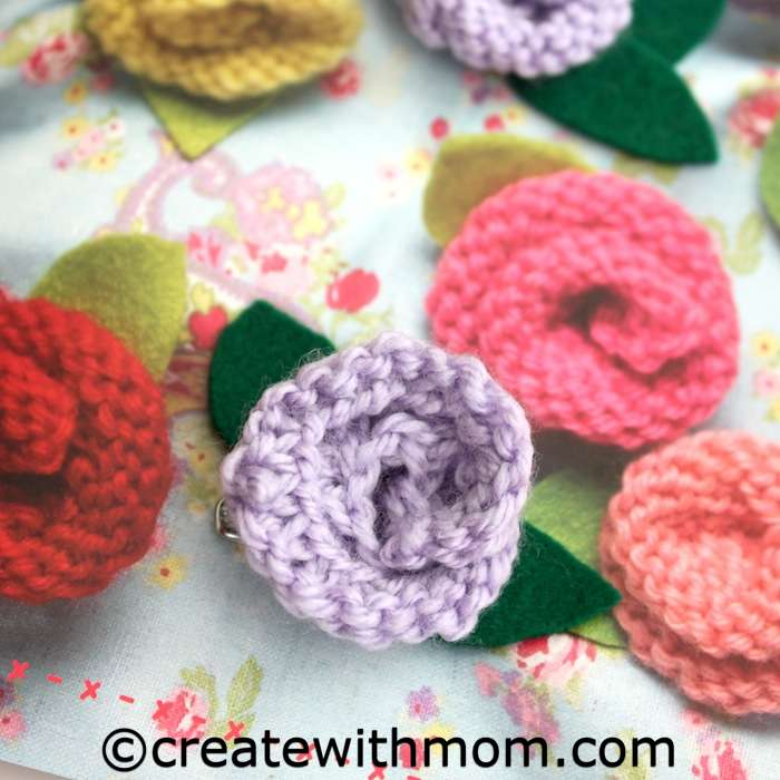 Knitting Rose Stitch : Create with mom knitted rose