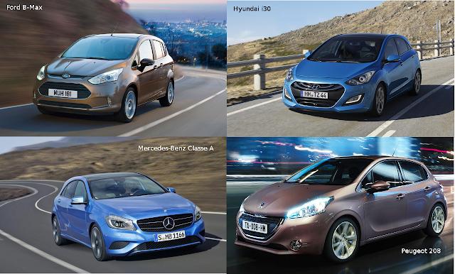 Ford B-Max, Hyundai i30, Mercedes-Benz Classe A, Peugeot 2008
