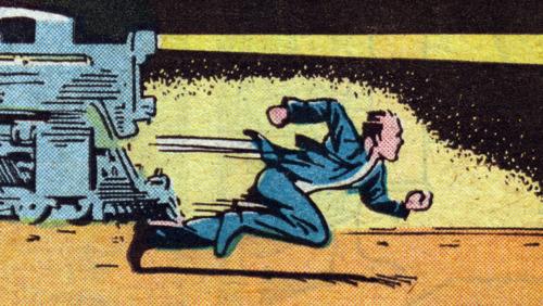 Vinyeta de còmic d'un home guanyant a un tren corren.
