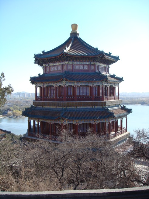 exterior of summer palace in beijing peking china