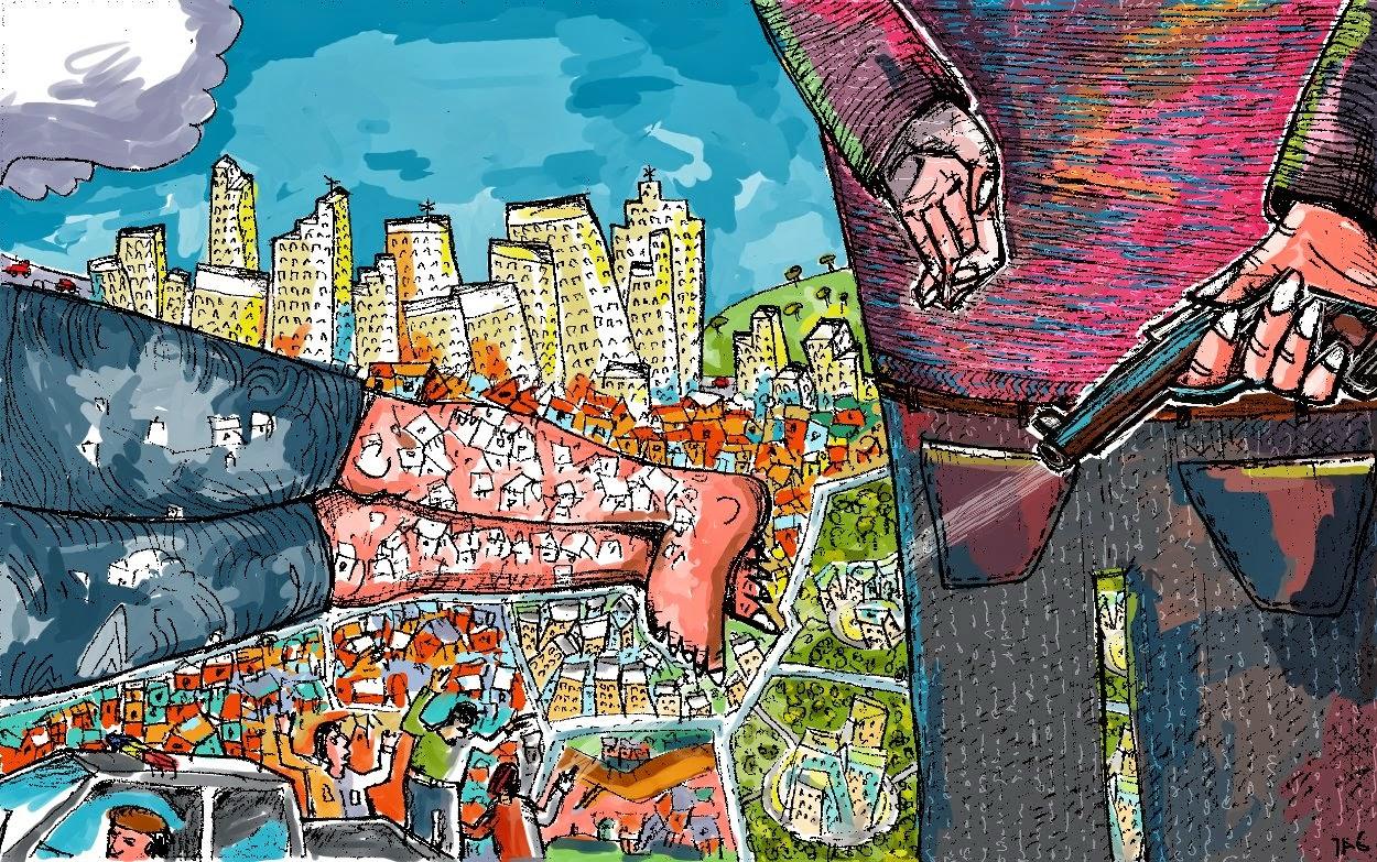 Materia ilustrando um artigo para Mauro Malin do Observatório da Imprensa - 2014 - MyPaint e Gimp.