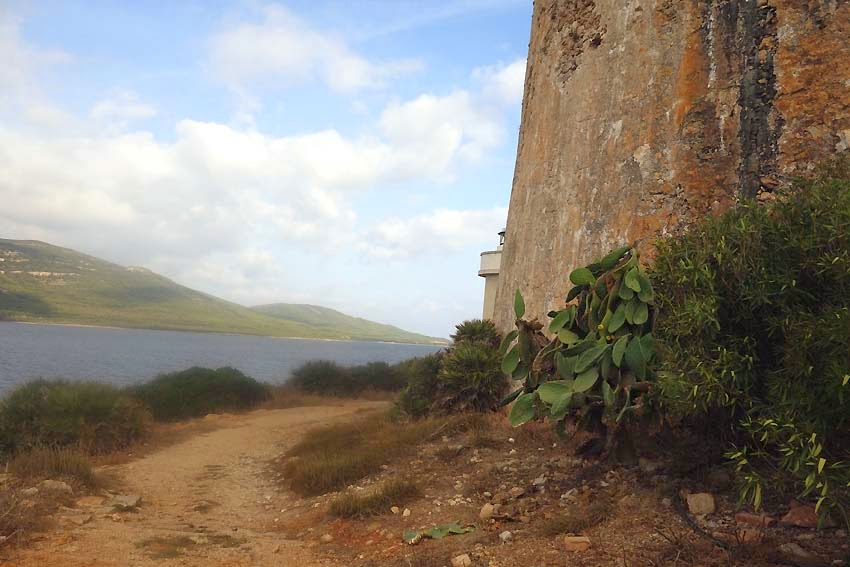 Base de la tour aragonaise et bout du phare de Porto Conte