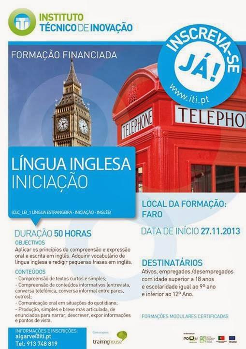 Formação financiada: Língua Inglesa (iniciação) – Faro