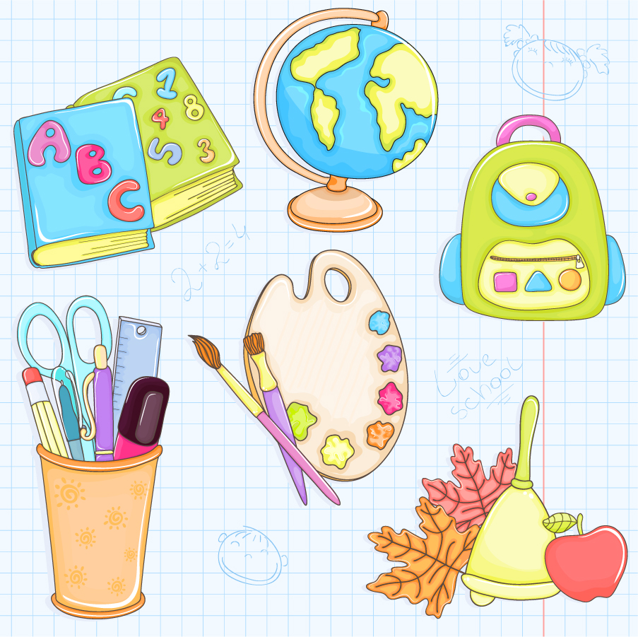 学用品のクリップアート cartoon school supplies イラスト素材