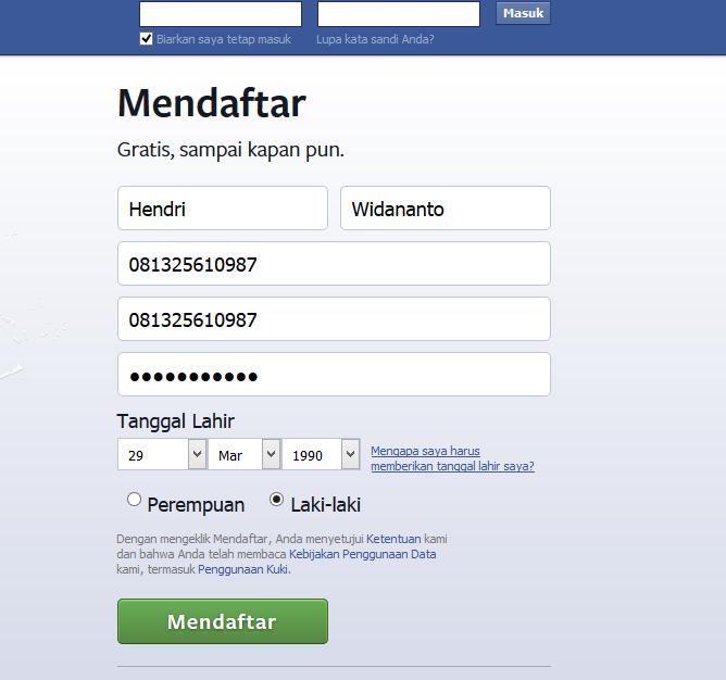 Cara Membuat akun Facebook, isikan formulir pembuatan