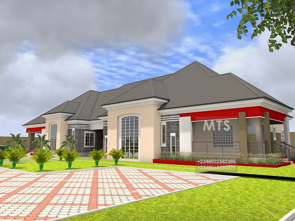 Mr kunle 5 bedroom bungalow modern and contemporary for 5 bedroom bungalow house plans