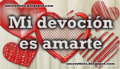 Frase de amor en español con corazones rojos