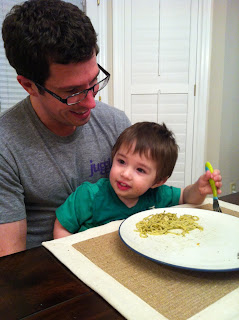 E loves his Pesto Chicken Pasta