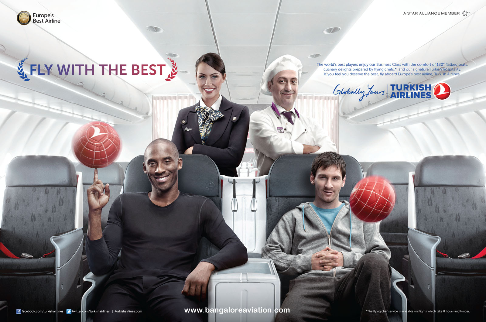 Leo Messi and Kobe Bryant join in an advertisement for Turkish Airlines
