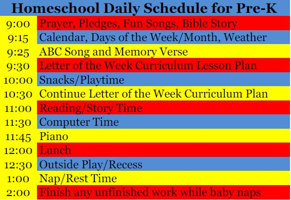 The Frugal Family Life Our Homeschool PreK Daily Schedule