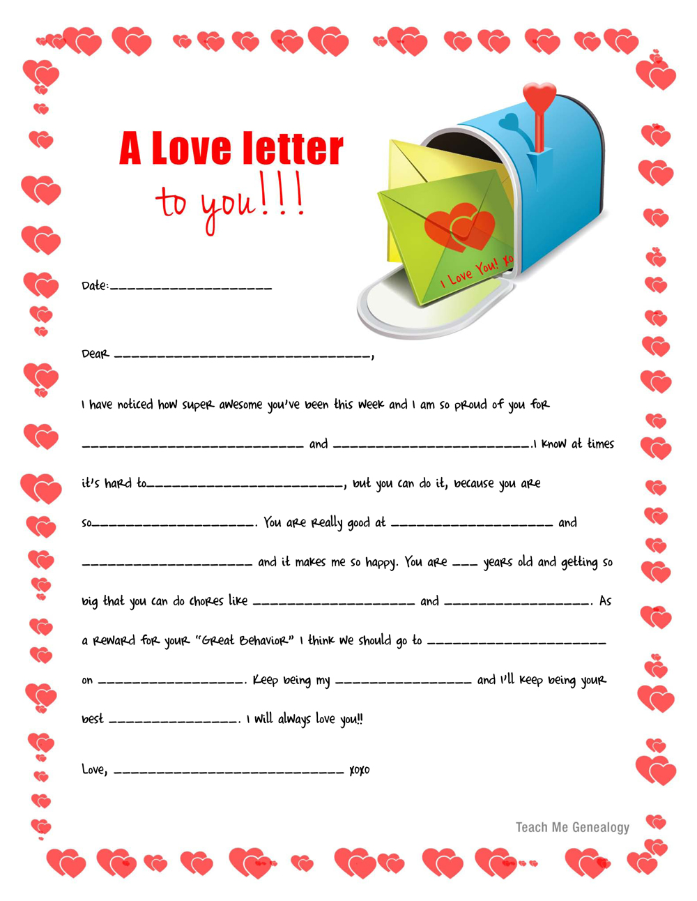 ... Love-Letters for your Kids. Free Printable ~ Teach Me Genealogy