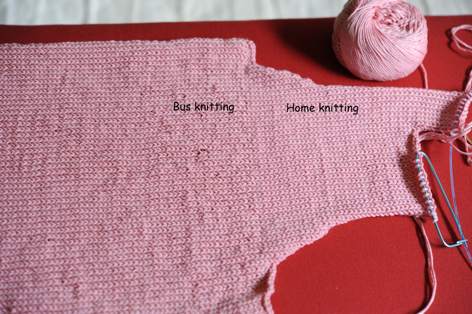 to notice the effect of bus knitting vs home knitting
