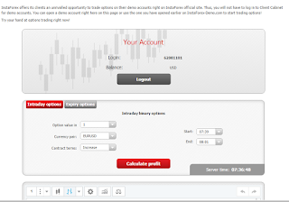 Instaforex binary options demo account how it looks