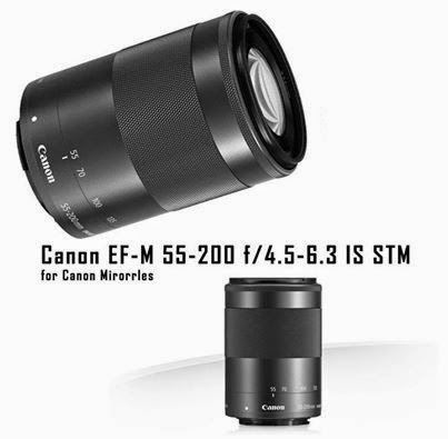 Lensa Canon EF-S 55-200mm f/4.5-6.3 IS STM Mirrorles Kamera Canon EOS M Terbaru