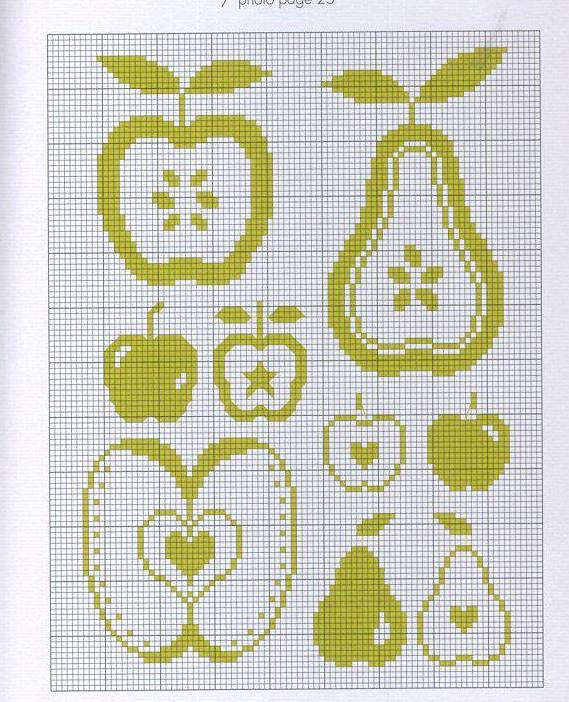 вышивка яблоко схемы