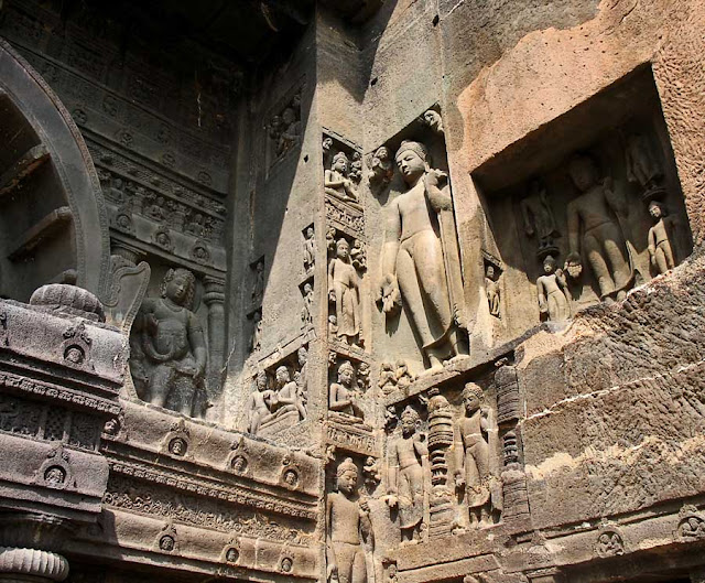 sculptures on exterior walls of Ajanta caves