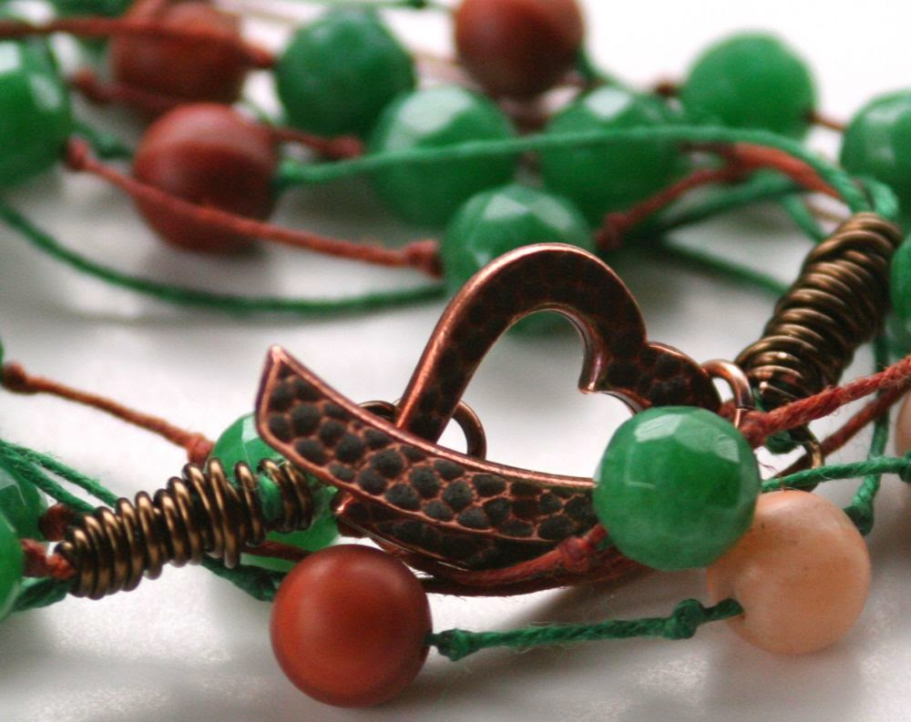 Wrap bracelet: copper toggle clasp, Irish wax linen, faceted jade, stone :: All Pretty Things