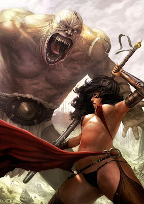 spike bat warrior lady fighting a giant monster beast