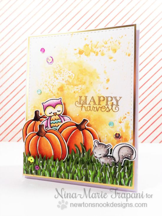 Pumpkin patch card by Nina-Marie Trapani | Pick-a-Pumpkin stamp set by Newton's Nook Designs #newtonsnook #pumpkin