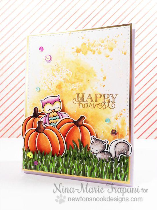 Pumpkin patch card by Nina-Marie Trapani | Pick-a-Pumpkin stamp set by Newton's Nook Designs #newtonsnook #pumpkin