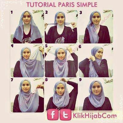 cara memakai jilbab paris simple