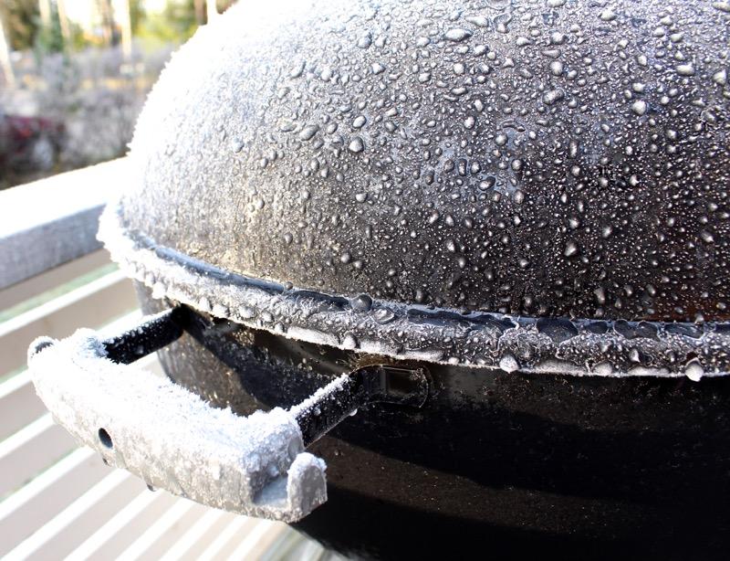 frozen black weber grill
