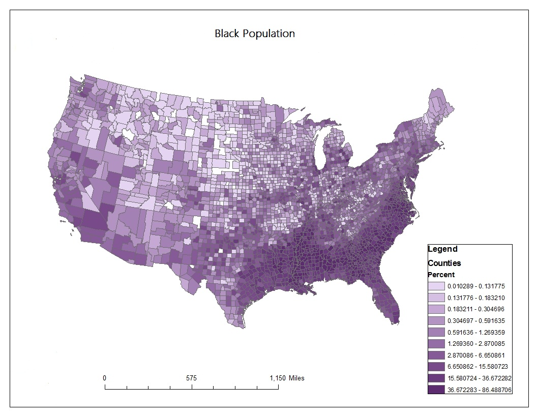 from the map most black people are in the south east states of america louisiana and alabama have the biggest percentage of black people which is from