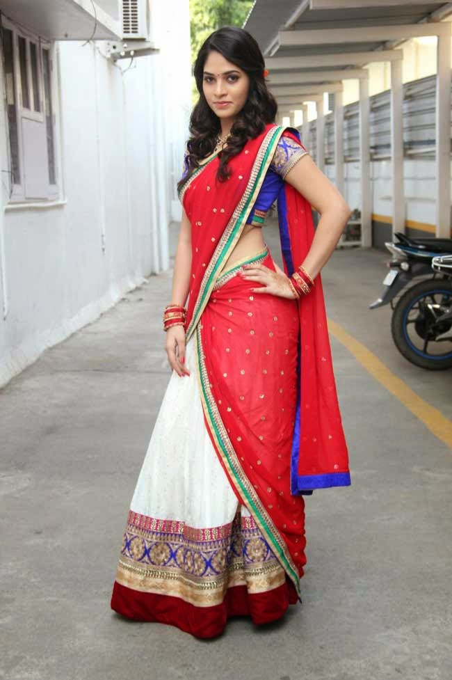 Actress Sanyathara in Designer Half Saree
