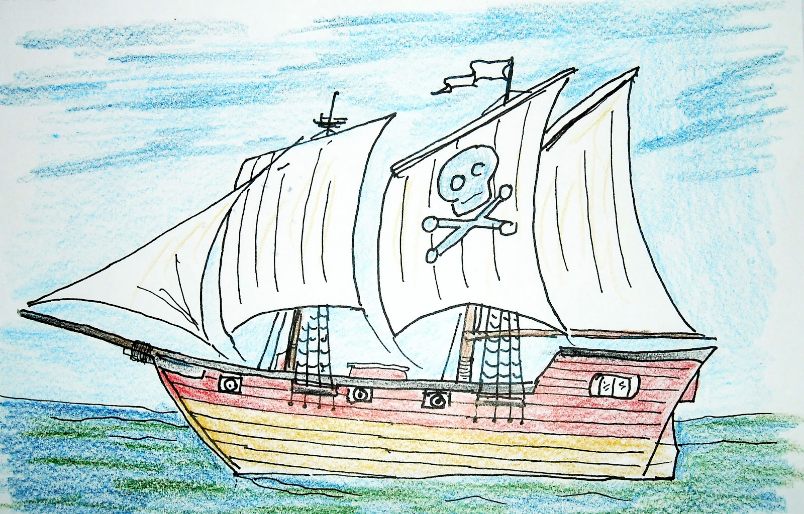 Pirate ship drawing - photo#16