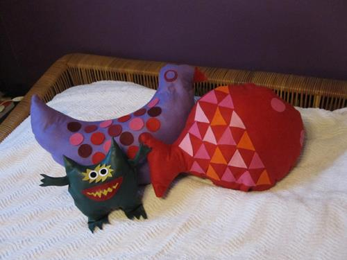 Fish & Bird cushions from a 70s sewing pattern + a sort of Nauga  1970 naugahyde