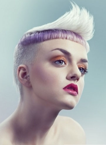 Platinum Hair with Purple Highlights 2014