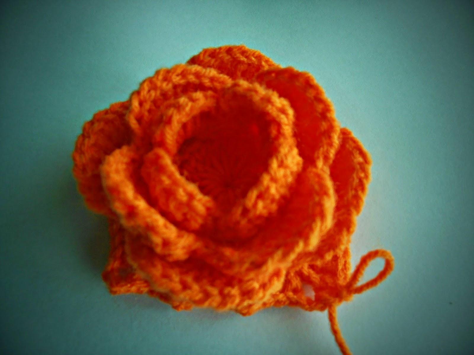 Dielas crochet cara mengait bunga ros pusingan ke enam ccuart Gallery