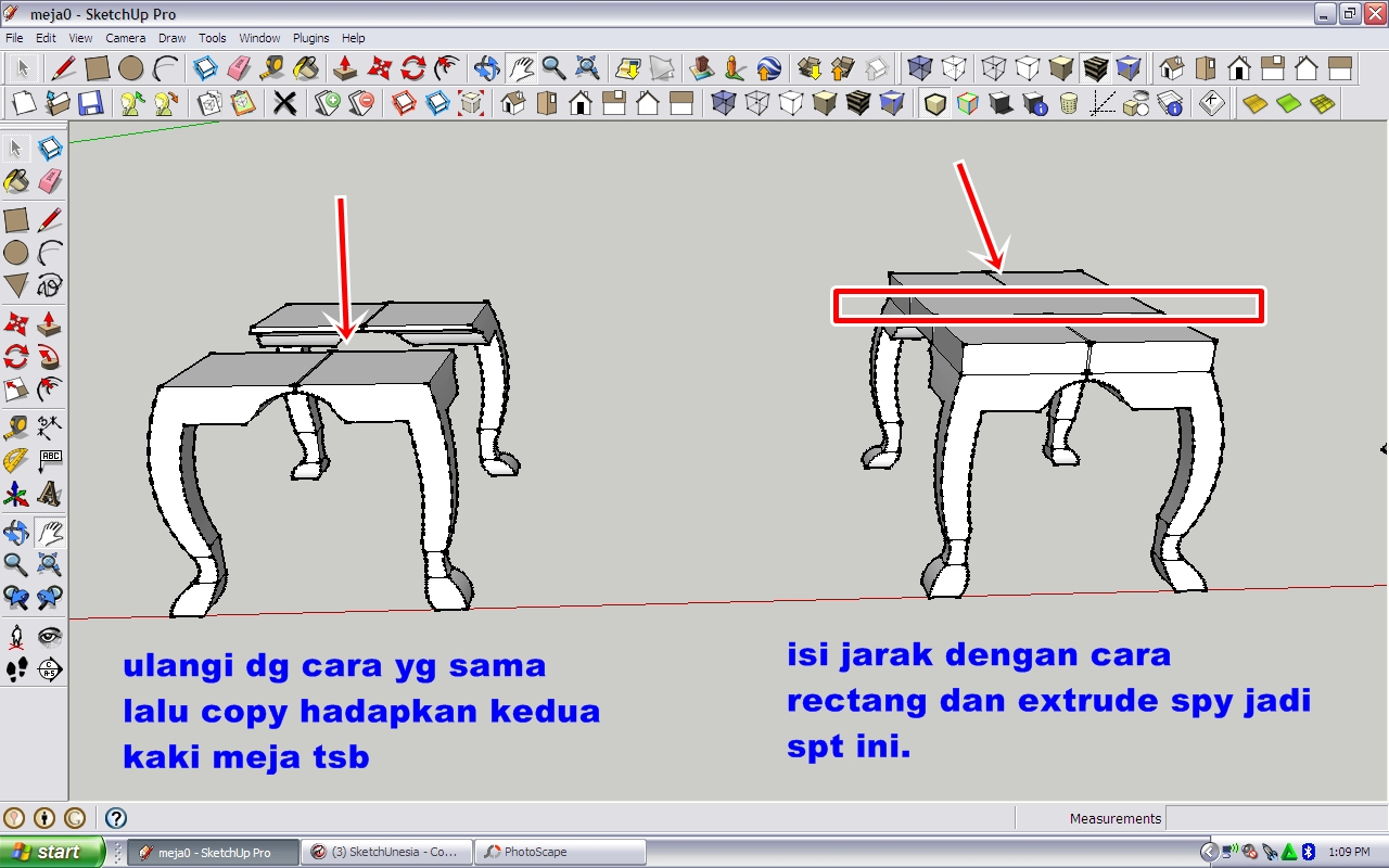 Tutorial Modeling Meja di Sketchup ~ Tutorial Update