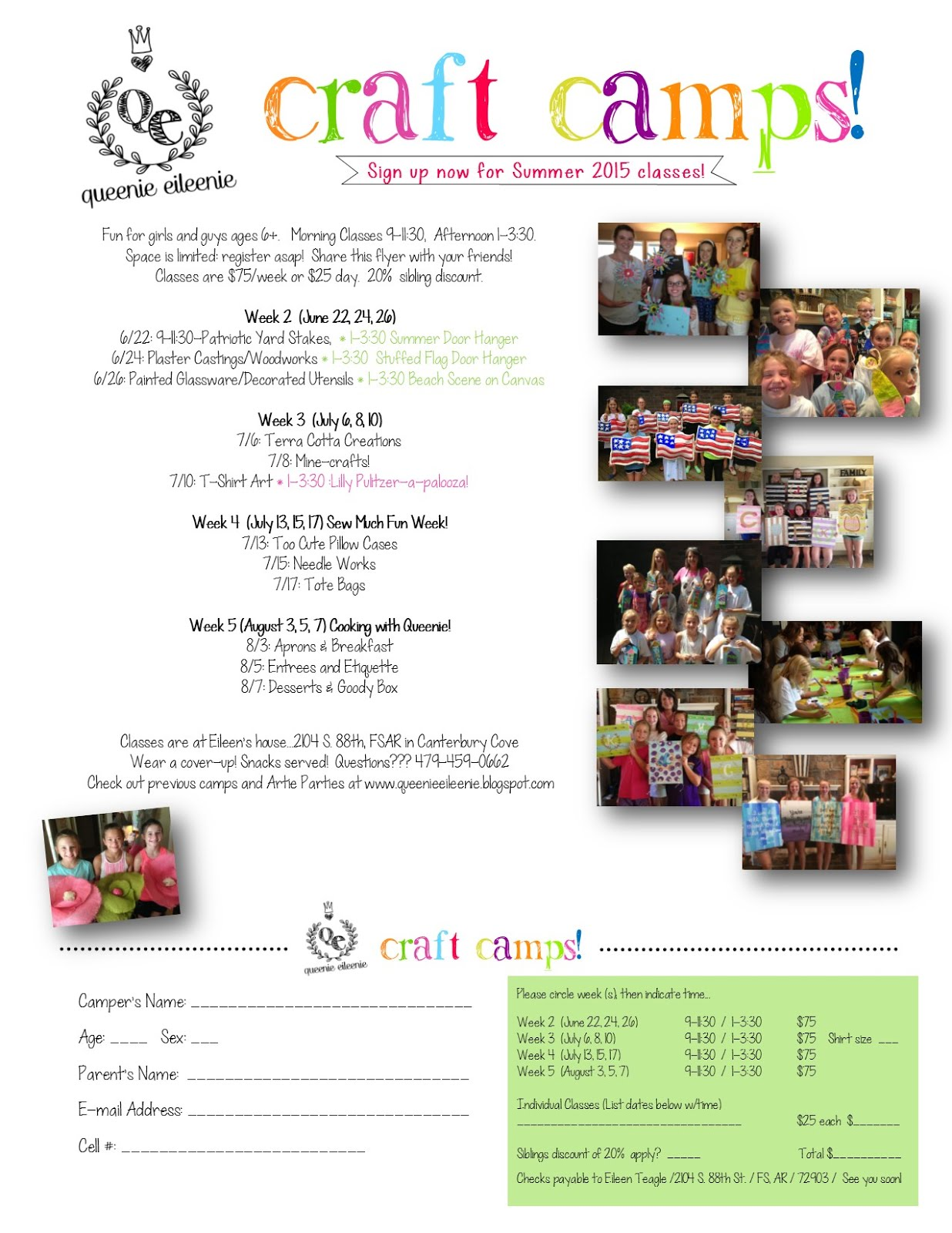 Sign Up for Summer 2015 Craft Camps!