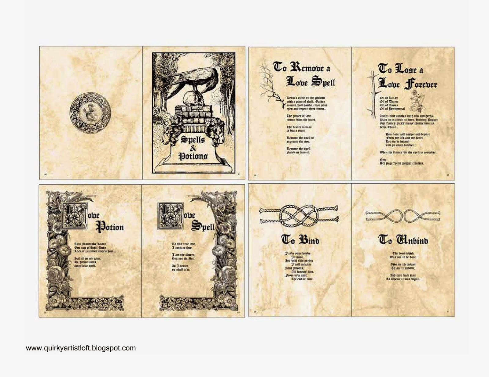 Harry Potter Book Pdf : Quirky artist loft free printable doll spell book