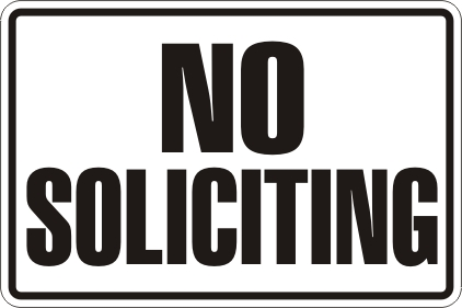 Canny image for printable no soliciting sign