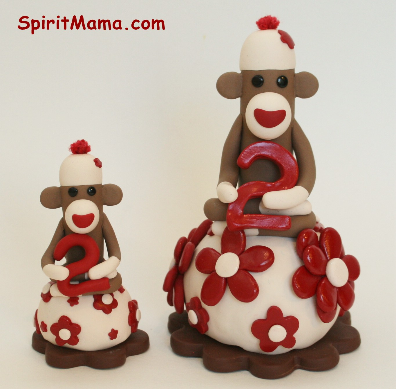 Spiritmama Art And Soul Sock Monkey Smash Cake Toppers