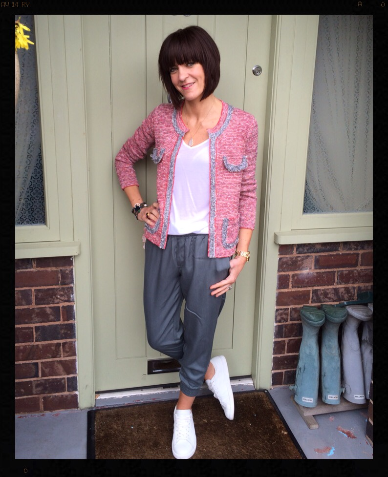 My Midlife Fashion, Avignon Trousers, Crop Knit Jacket, white trainers, mango, zara