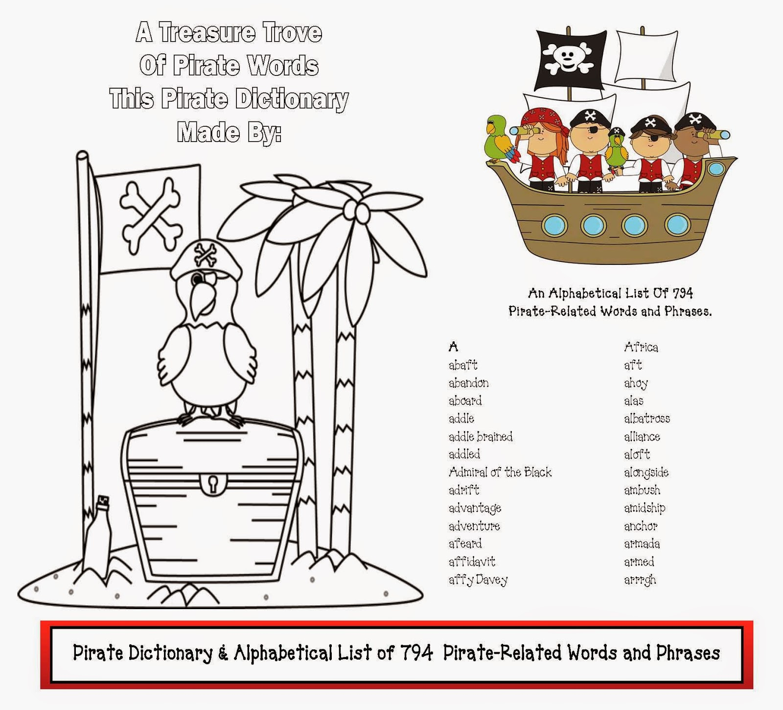 classroom freebies  dictionary of pirate words  u0026 phrases