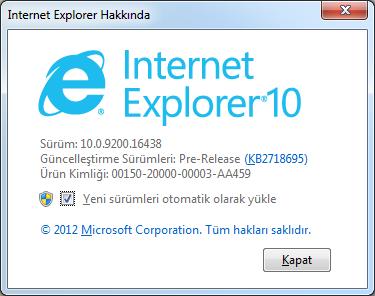 Internet Explorer 10 Hakkında