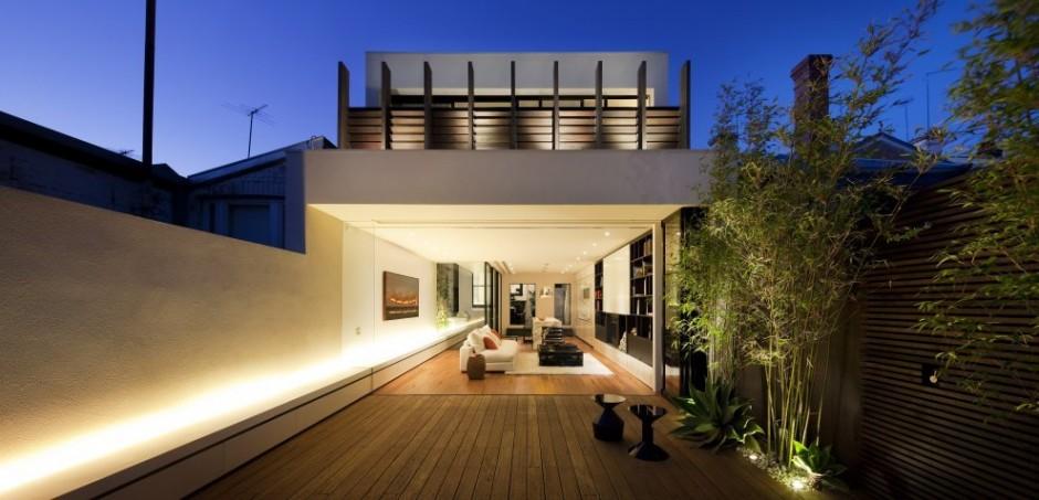 Arquitetura do im vel em melbourne na austr lia casa em terreno estreito com projeto que - Plans houses terrace enjoy relaxed lifestyle ...