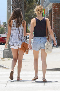 Booties in shorts, Jennifer Lawrence and her friend in Santa Monica