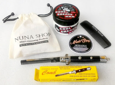 Paket Hemat Pomade Cool Grease XXX + Switchblade Comb (SB) + Pouch + Stiker + Sisir Saku